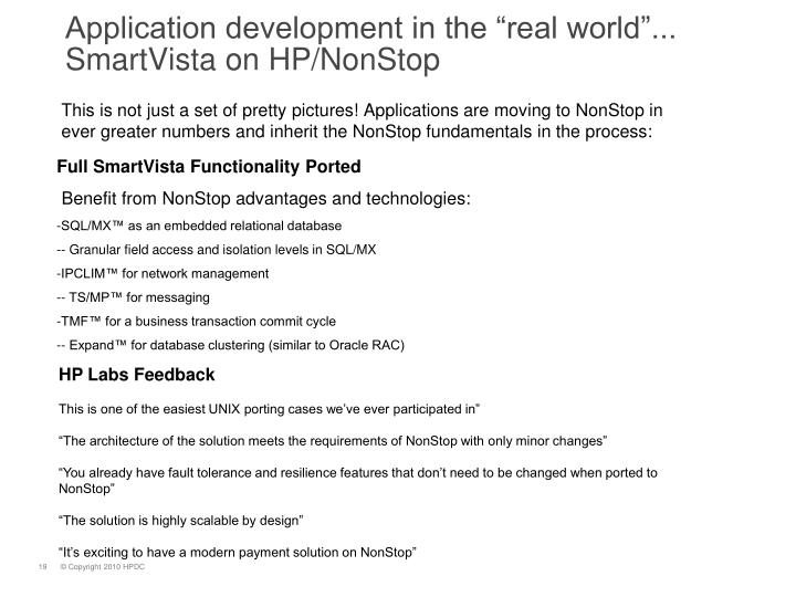 "Application development in the ""real world""..."
