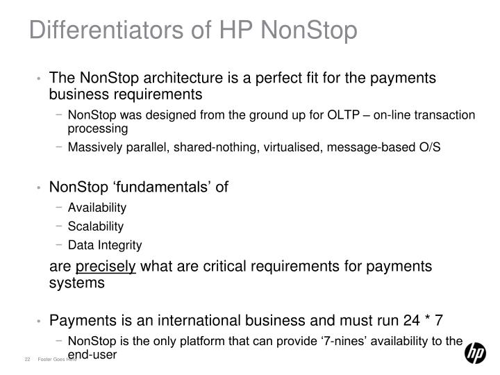 Differentiators of HP NonStop