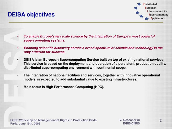 Deisa objectives