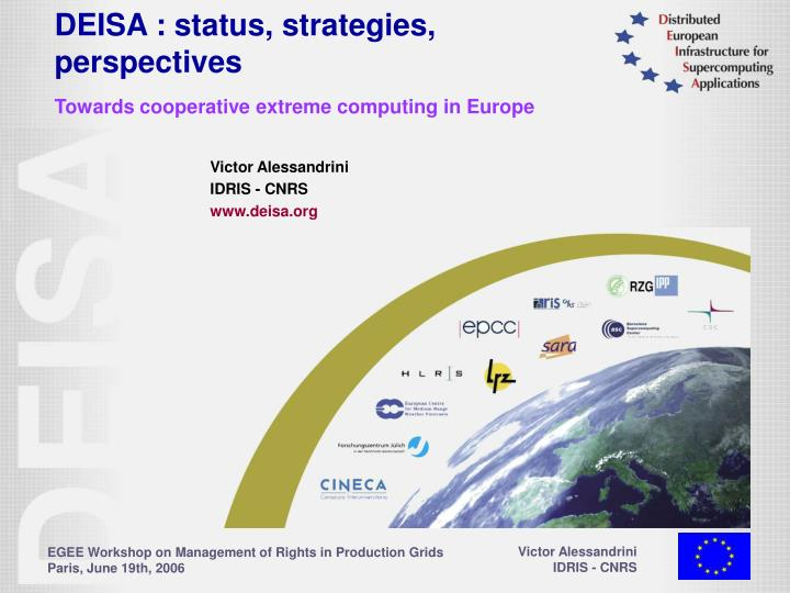 Deisa status strategies perspectives towards cooperative extreme computing in europe