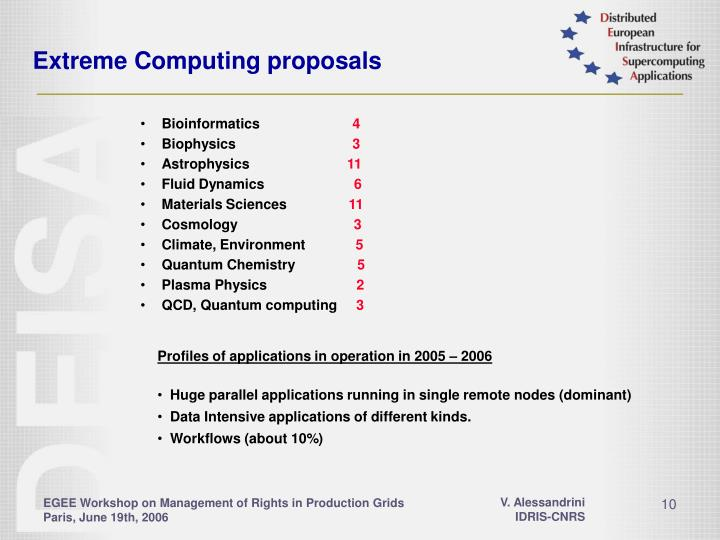 Extreme Computing proposals