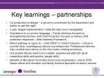 key learnings partnerships