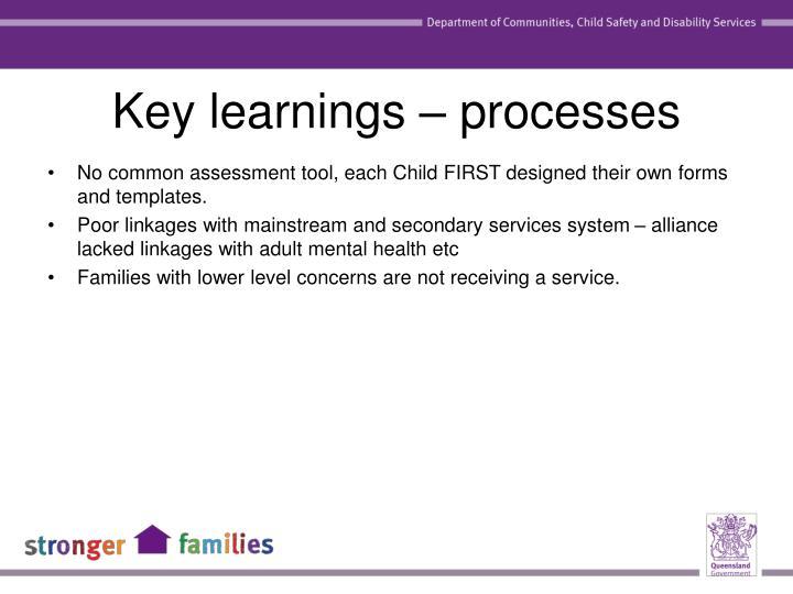 Key learnings – processes