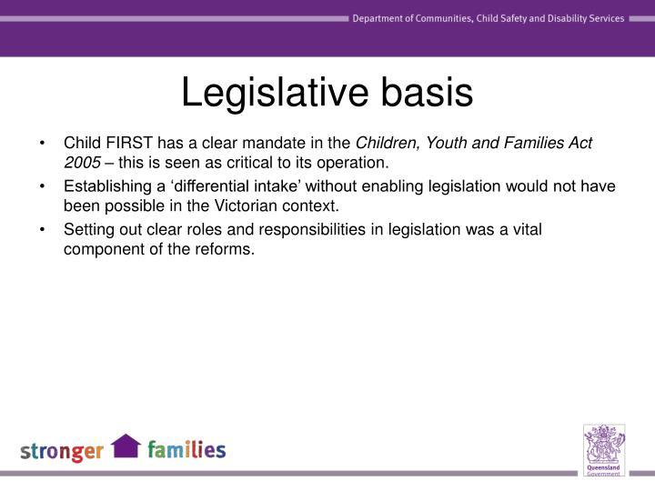 Legislative basis
