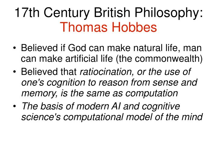 17th Century British Philosophy: