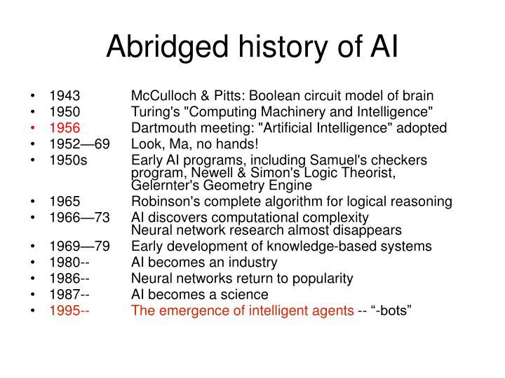 Abridged history of AI