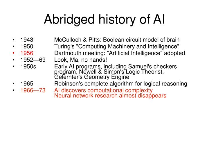Abridged history of AI
