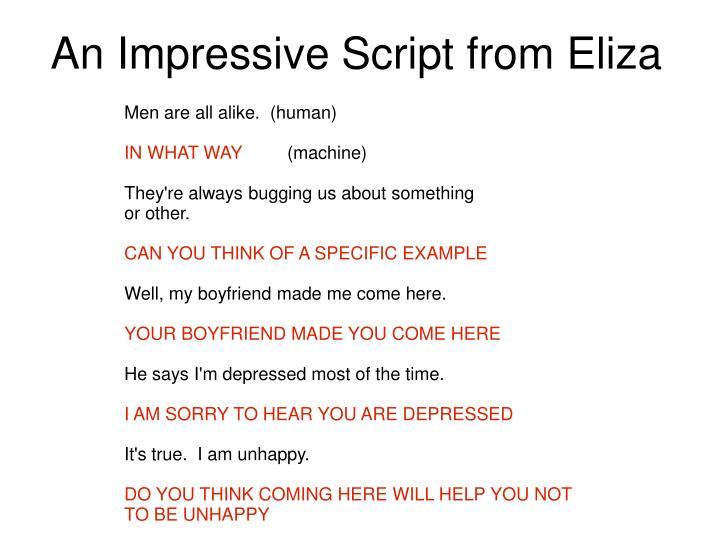 An Impressive Script from Eliza
