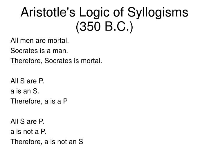 Aristotle's Logic of Syllogisms (350 B.C.)