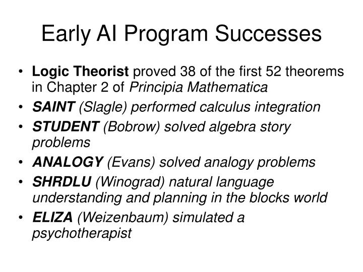 Early AI Program Successes