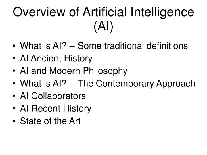 Overview of artificial intelligence ai