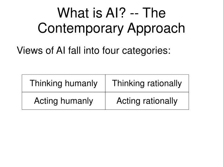 What is AI? -- The Contemporary Approach