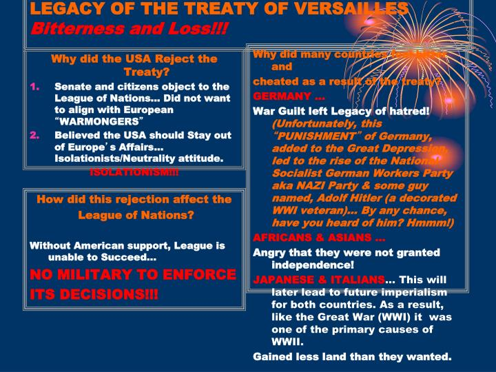 LEGACY OF THE TREATY OF VERSAILLES