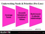 underwriting needs priorities pre loss