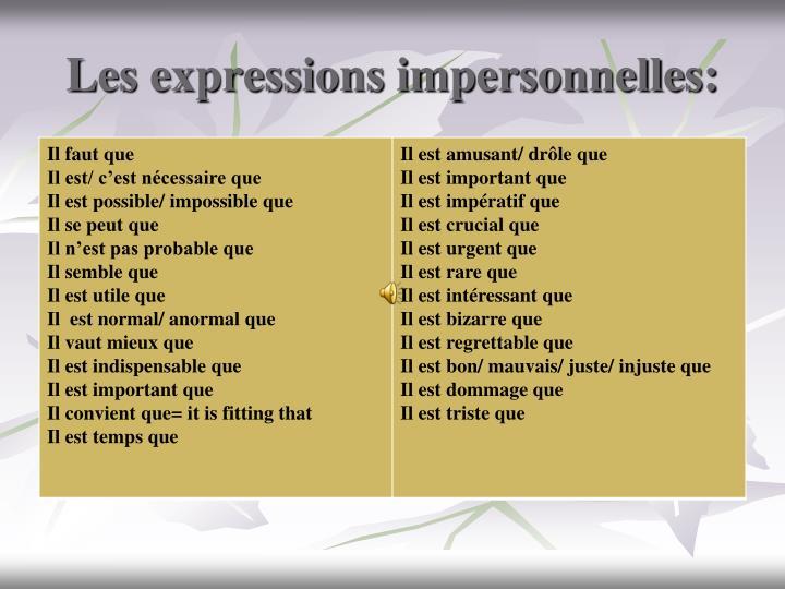 Les expressions impersonnelles: