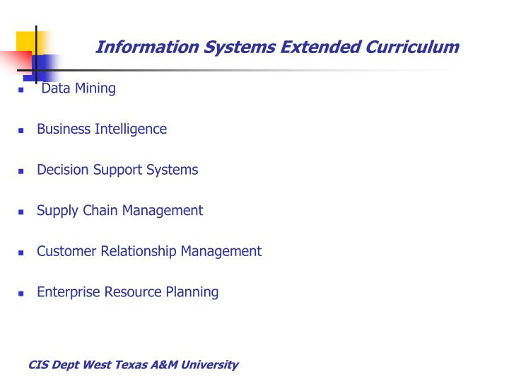Information Systems Extended Curriculum