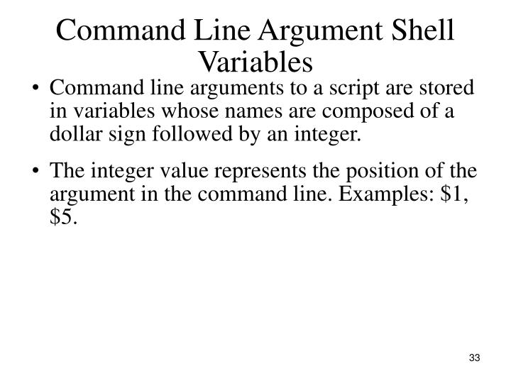 Command Line Argument Shell Variables
