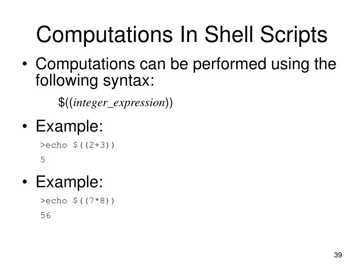 Computations In Shell Scripts