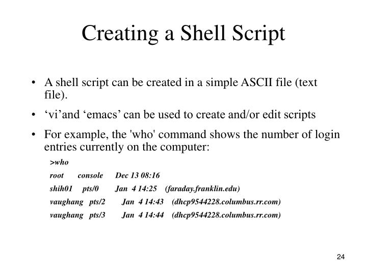 Creating a Shell Script