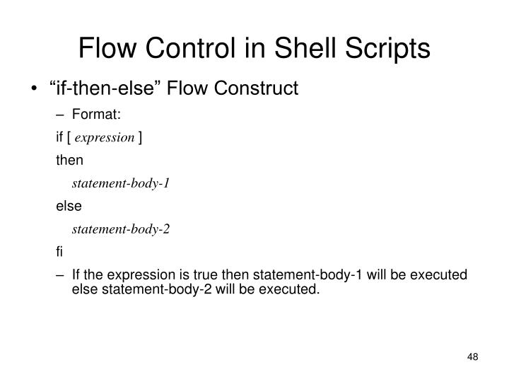 Flow Control in Shell Scripts
