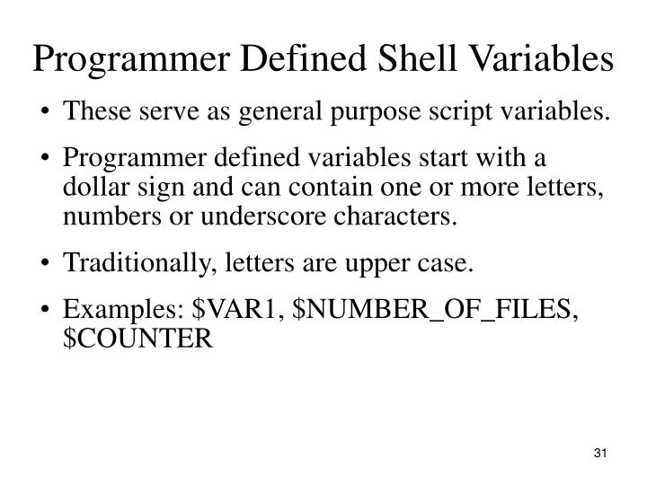 Programmer Defined Shell Variables