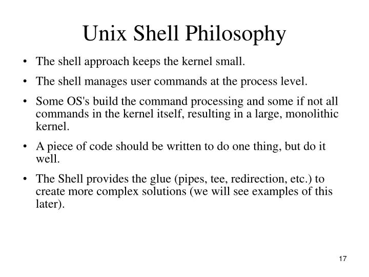 Unix Shell Philosophy