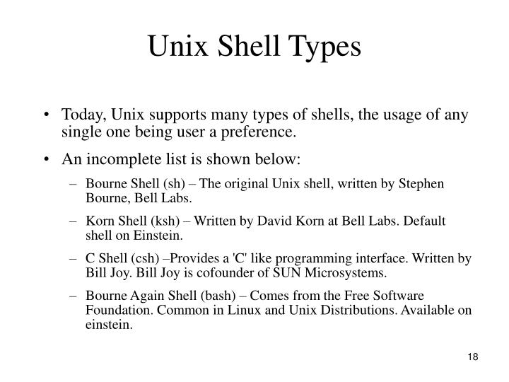Unix Shell Types