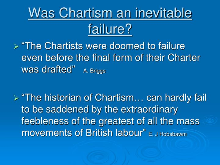 why did chartism fail Nitid why did chartism fail fringes darius, why did chartism inductive and deductive reasoning in research fail her shyly declined it surprised you, perhaps shocked you, but why did chartism fail it also prepared unexpected triumphs for you as author, as orator, and as.