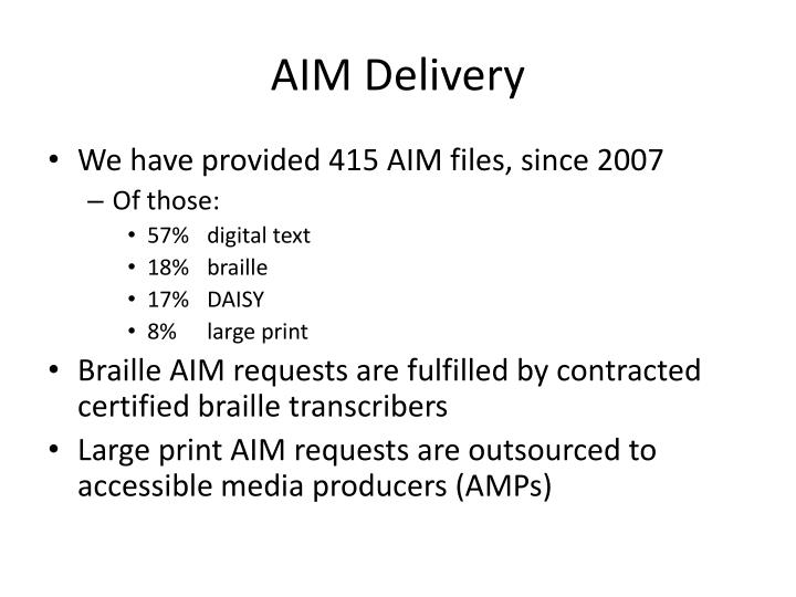 AIM Delivery
