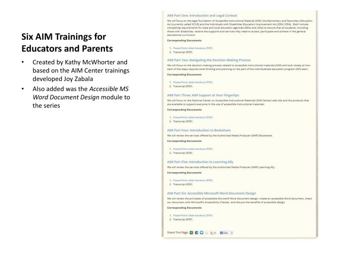 Six AIM Trainings for Educators and Parents