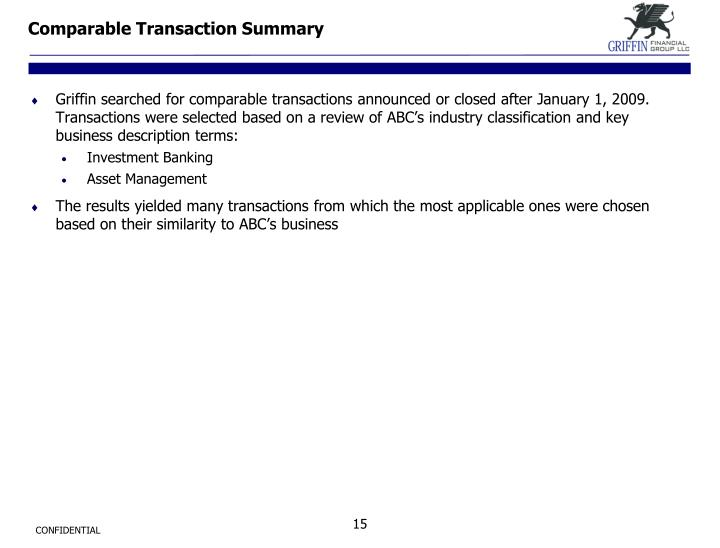 Comparable Transaction Summary