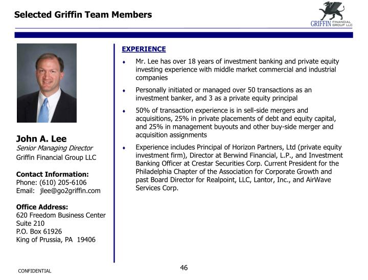 Selected Griffin Team Members