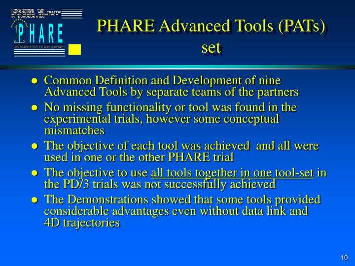PHARE Advanced Tools (PATs) set