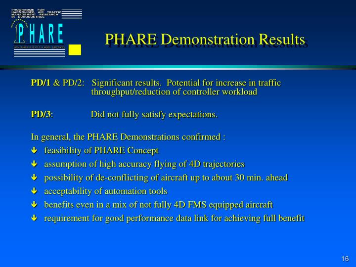 PHARE Demonstration Results