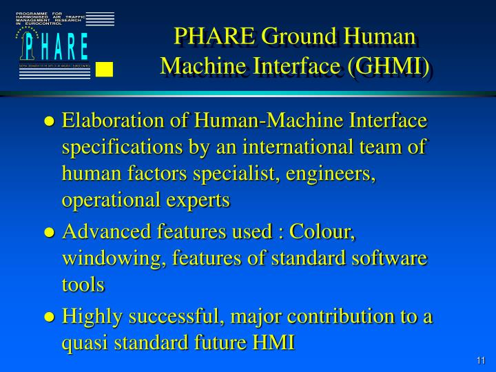 PHARE Ground Human Machine Interface (GHMI)