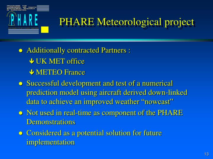 PHARE Meteorological project
