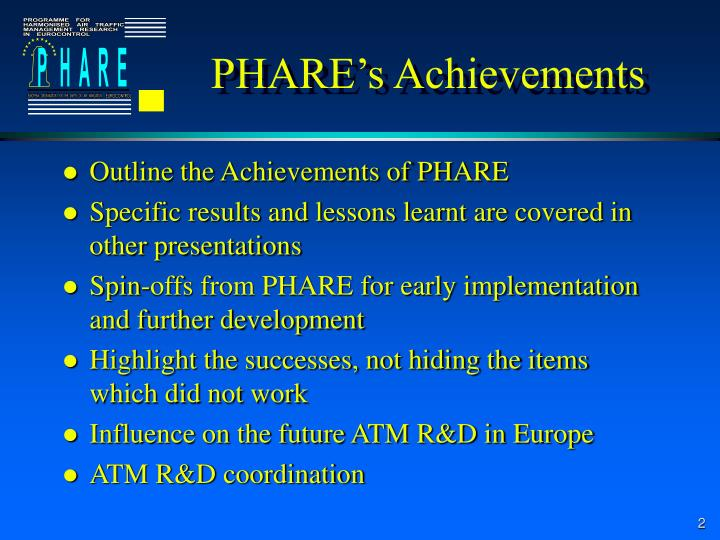 PHARE's Achievements