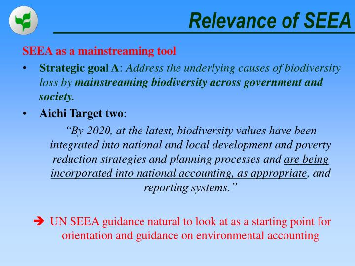 Relevance of SEEA