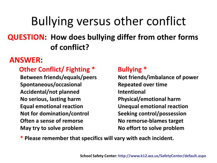 Bullying versus other conflict