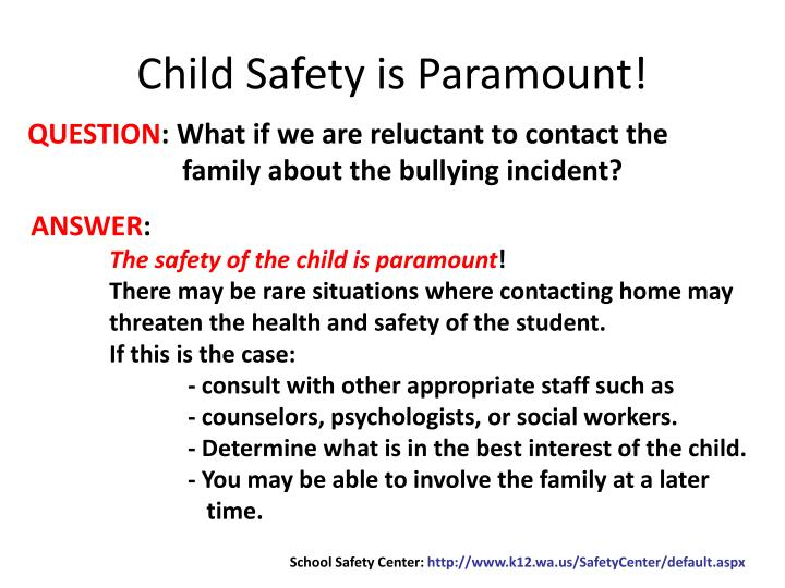 Child Safety is Paramount!