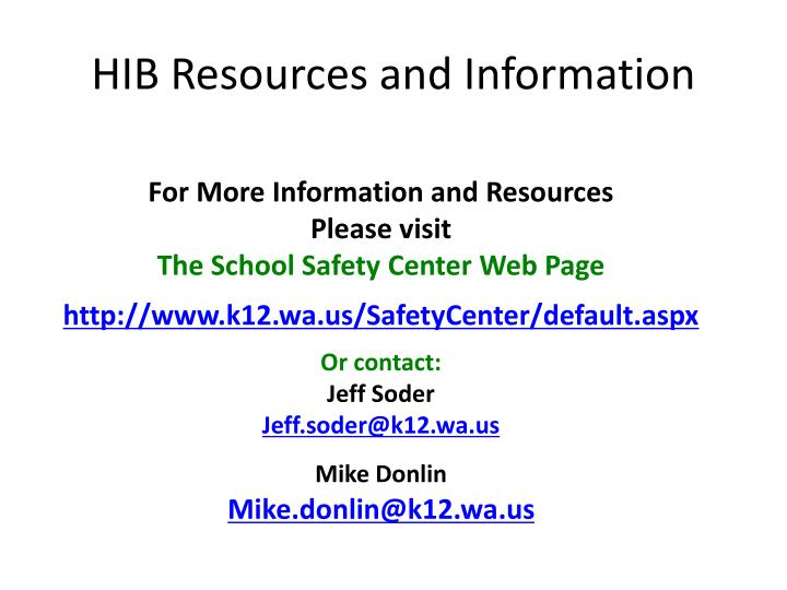 HIB Resources and Information