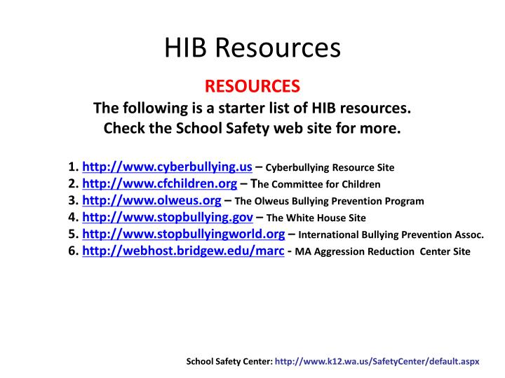 HIB Resources