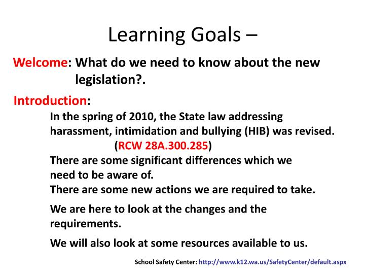 Learning Goals –