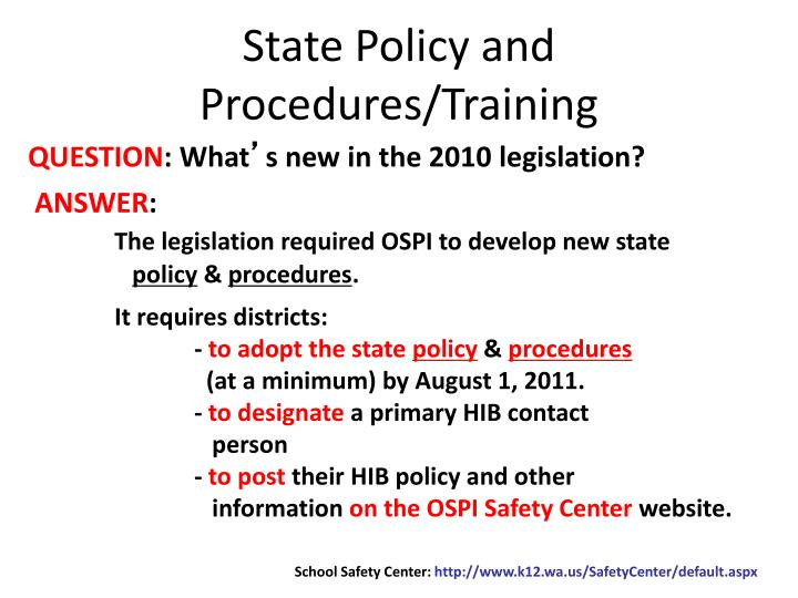 State Policy and Procedures/Training
