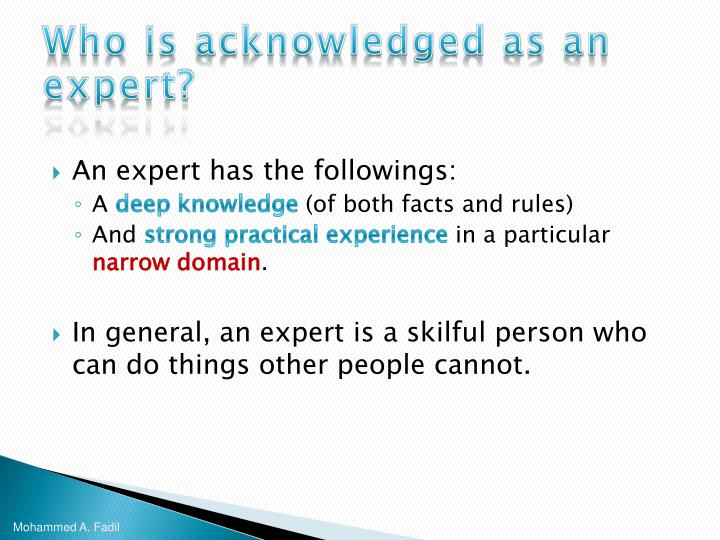 Who is acknowledged as an expert?