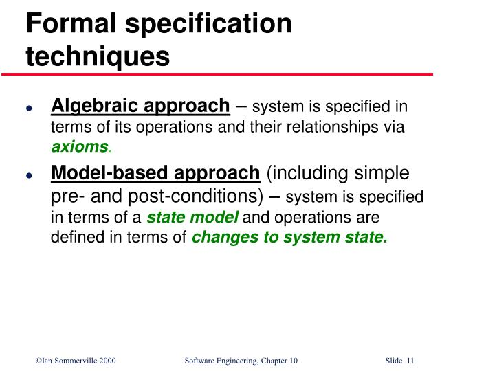 Formal specification techniques