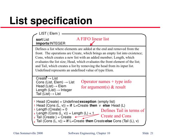 List specification