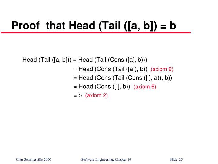 Proof  that Head (Tail ([a, b]) = b