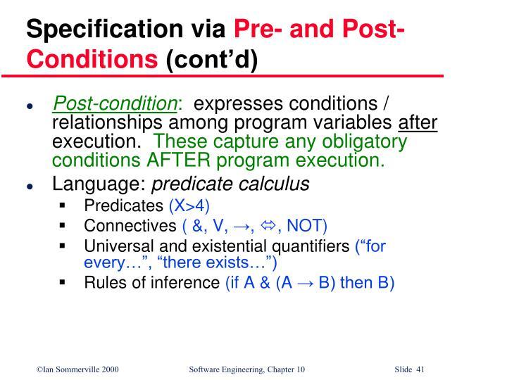 Specification via