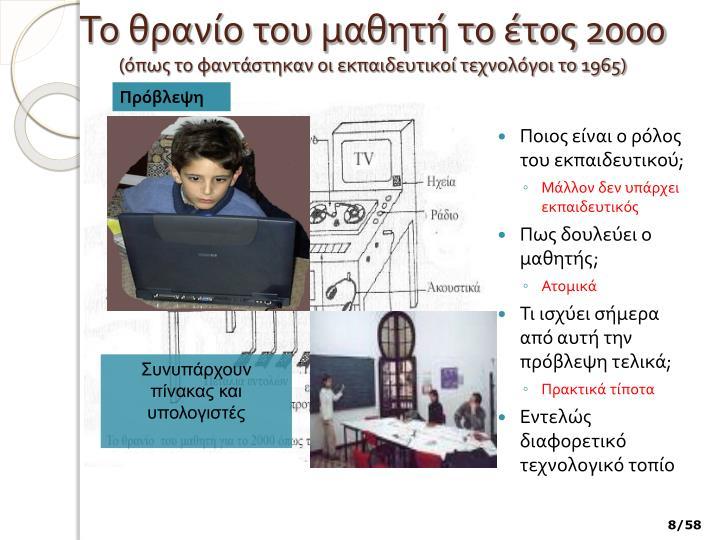 Το θρανίο του μαθητή το έτος 2000